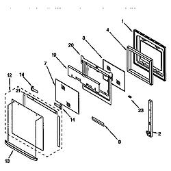 RBD305PDB6 Electric Oven Upper oven door Parts diagram