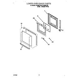 RBD305PDQ8 Electric Oven Lower oven door Parts diagram