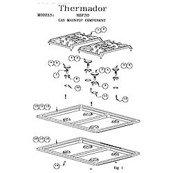 RDF30QB Freestanding Dual Fuel Range Gas maintop component Parts diagram