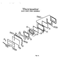 RDF30QB Freestanding Dual Fuel Range Main oven door assembly Parts diagram