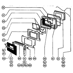 RDFS30QW Range Main oven door assembly Parts diagram