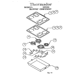 RED30V Drop-In Electric Range Maintop component Parts diagram