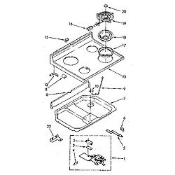 RF390PXP Electric Range Cooktop Parts diagram