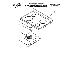 RF396LXEQ0 Free Standing Electric Range Cooktop Parts diagram