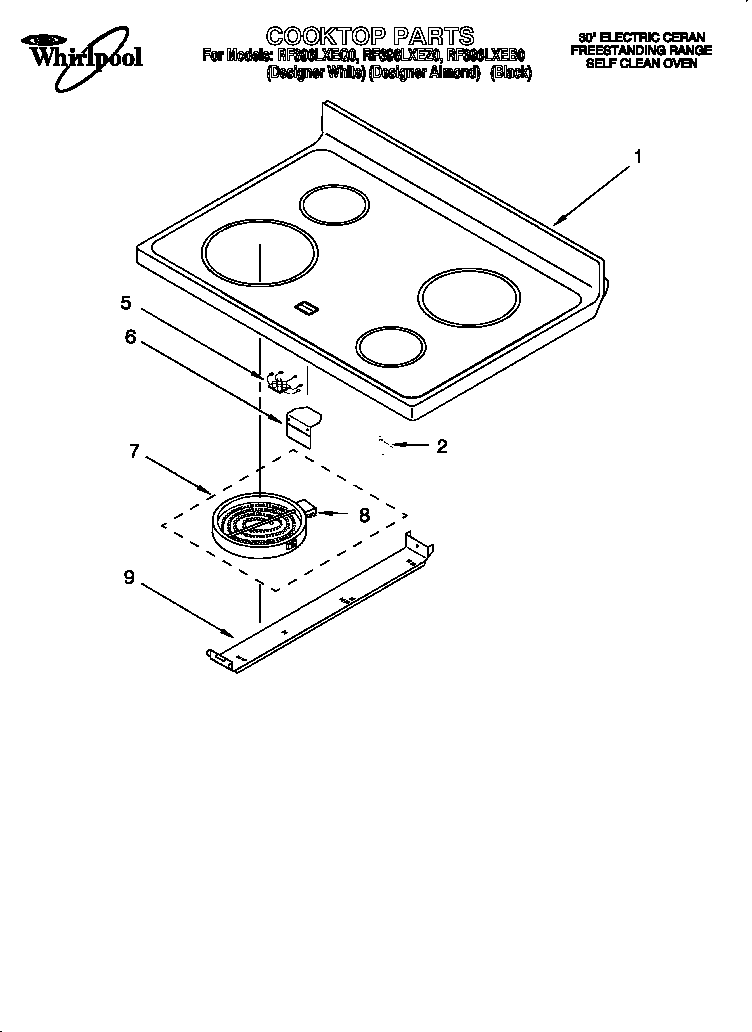 whirlpool rf396lxeq0 free standing electric range timer