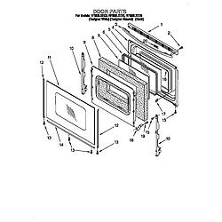 RF396LXEQ0 Free Standing Electric Range Door Parts diagram
