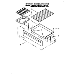 RF396LXEQ0 Free Standing Electric Range Drawer and broiler Parts diagram