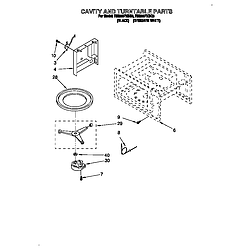 RM280PXBQ3 Electric Range And Oven Cavity and turntable Parts diagram