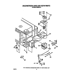 RM288PXV Electric Built-In Oven With Microwave Magnetron and air flow Parts diagram