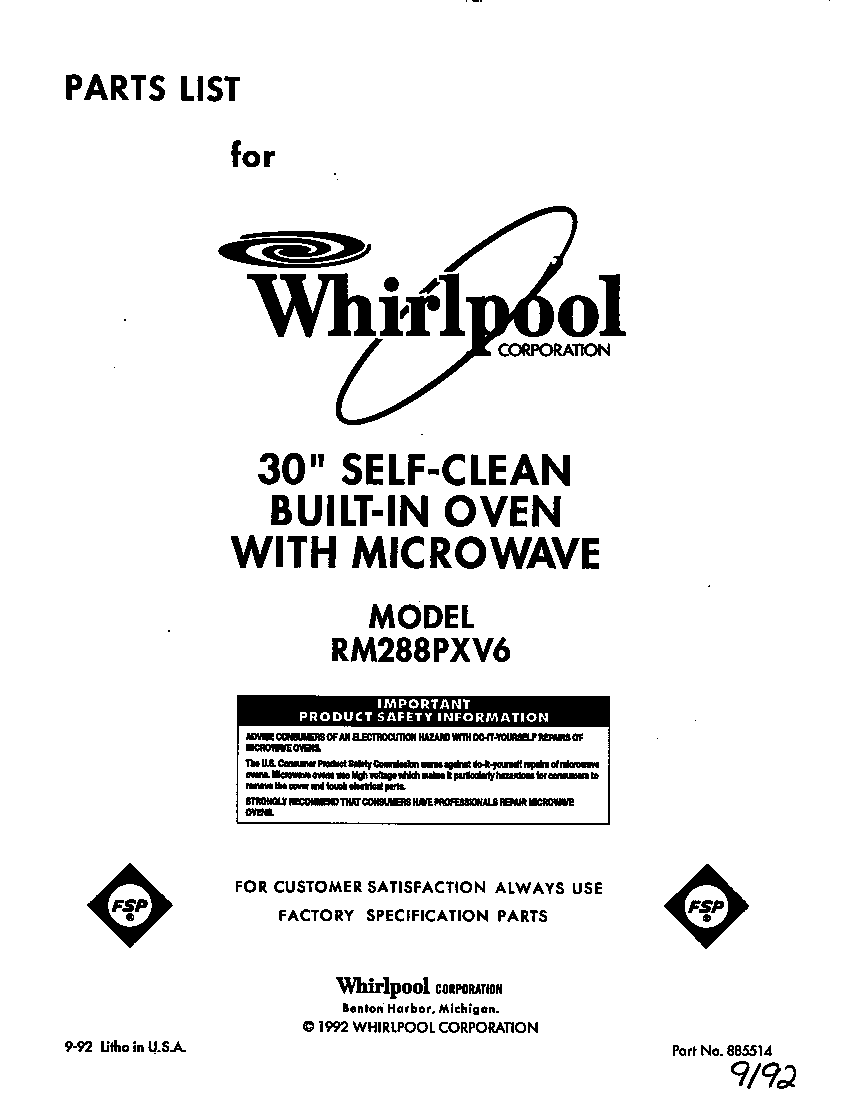 Whirlpool Rm288pxv6 Electric Built In Oven With Microwave Timer Toaster Switch Diagram On Schematic Diagrams For Ge And Wiring Front Cover Parts