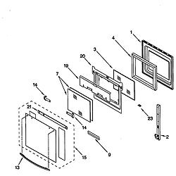 RS675PXGQ0 Electric Range Oven door Parts diagram