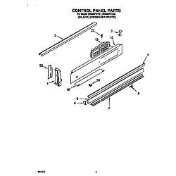 RS696PXYB Electric Range Control panel Parts diagram