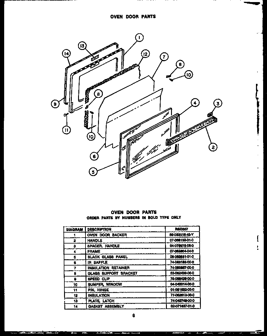 RSD30 Gas Ranges Oven door Parts diagram