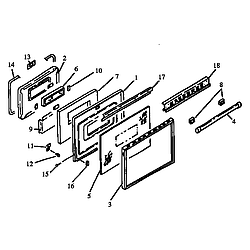 RSF3400UL Gas Range Oven door assembly Parts diagram