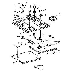 RSF3400UL Gas Range Sealed burner Parts diagram