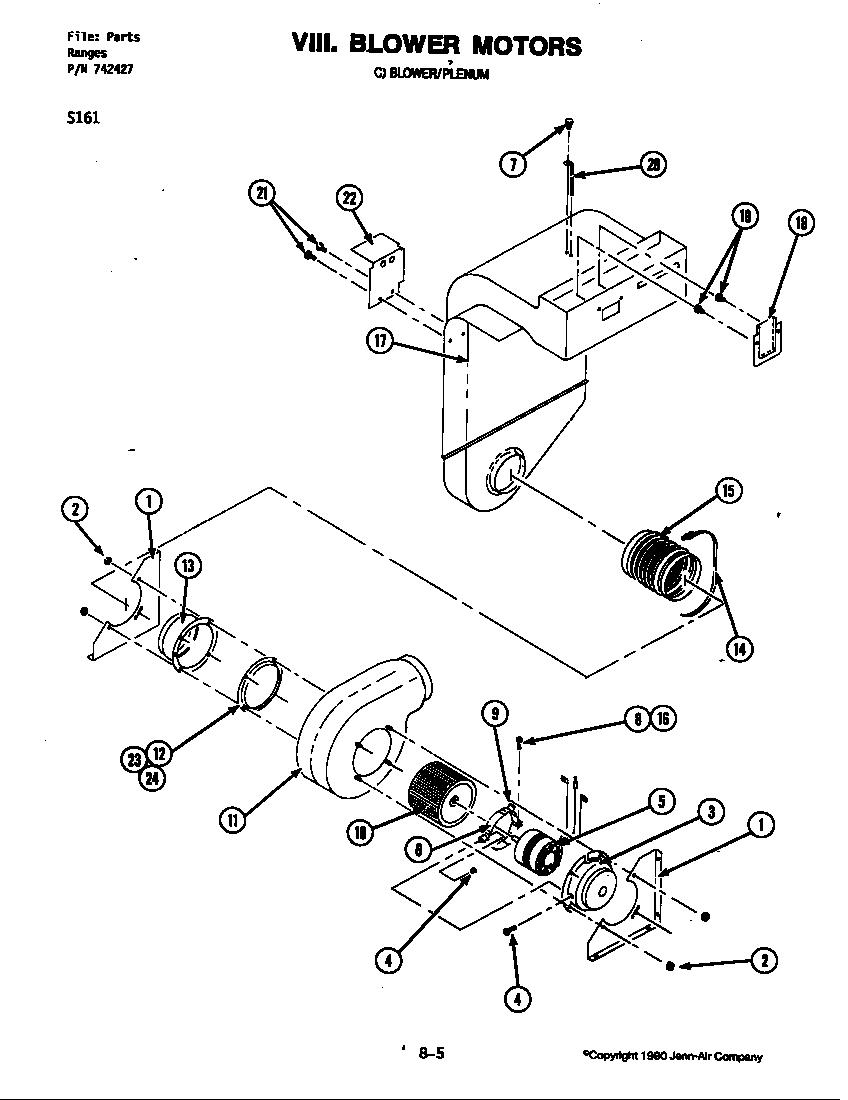Jenn air s161 electric slide in range timer stove clocks for Electric motor parts diagram