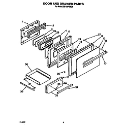 SB160PEXB1 Built In Gas Oven Door and drawer Parts diagram