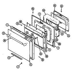 SEG196W Slide-In Range Door (wht) (seg196w) (seg196w-c) Parts diagram