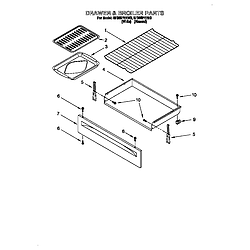 SF385PEE Free Standing Gas Range Drawer and broiler Parts diagram