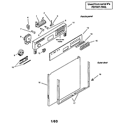 SMU7052UC14 Dishwasher Fascia panel and outer door Parts diagram