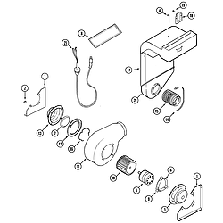 SVD48600B Gas/Electric Slide-In Range Blower & convect assy. Parts diagram
