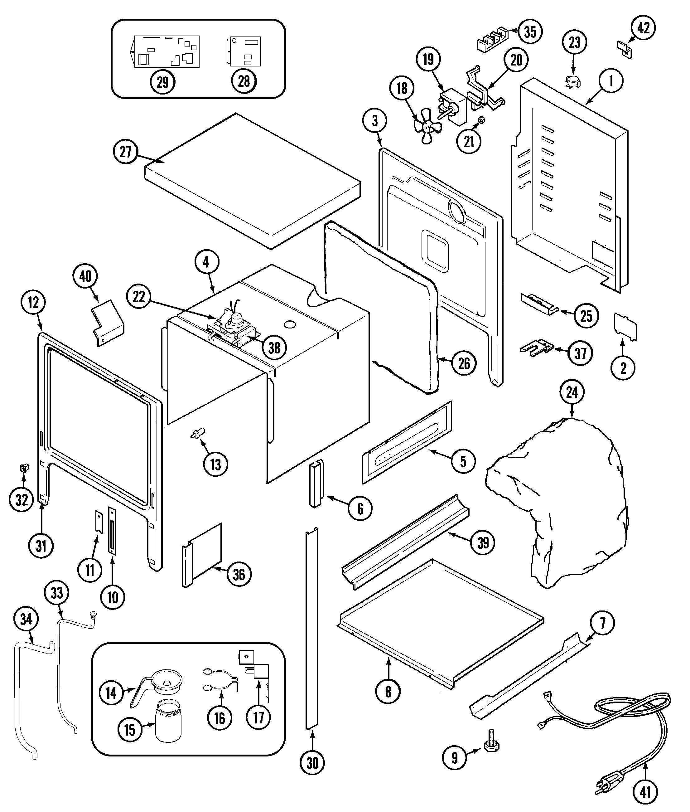 SVE47100B Electric Slide-In Range Body Parts diagram