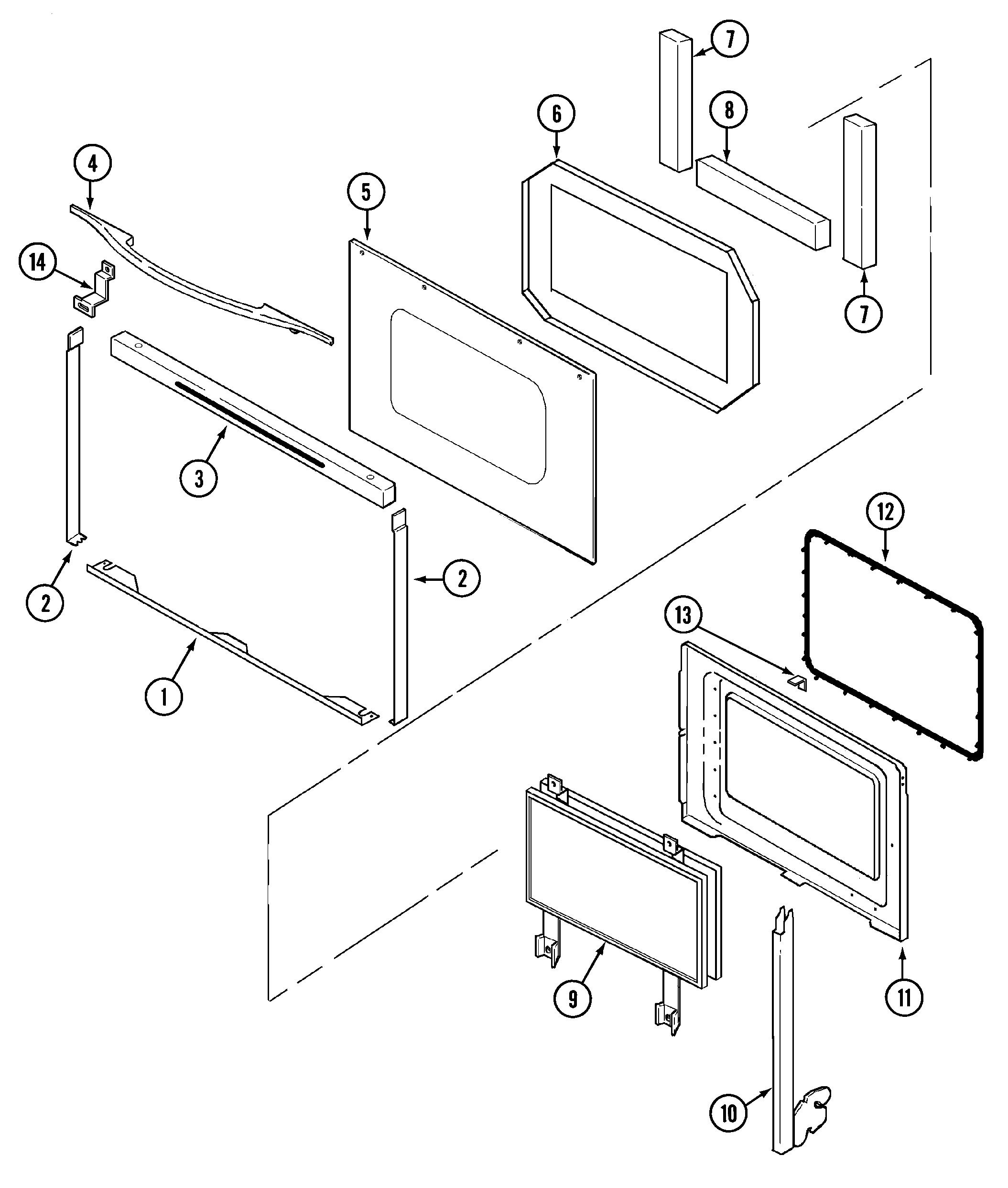 SVE47100W Electric Slide-In Range Door Parts diagram