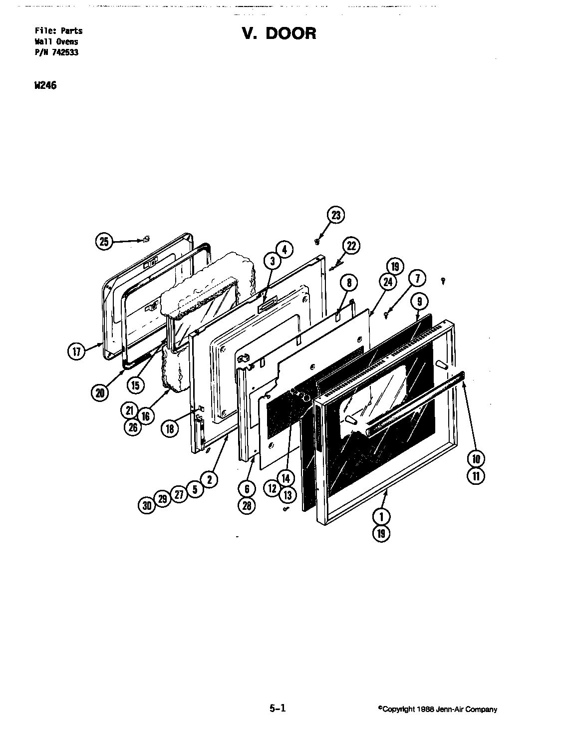 W246 Electric Wall Oven Door (w246) (w246) Parts diagram