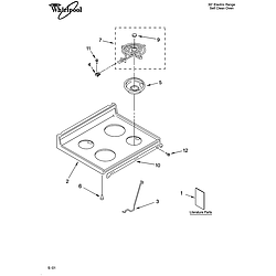 WHP54803 Free Standing - Electric Cooktop Parts diagram
