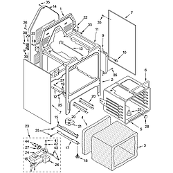 WHP54803 Free Standing - Electric Oven chassis Parts diagram