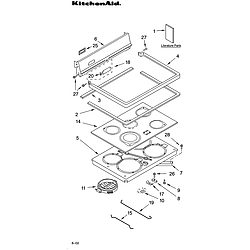 YKERC507HS4 Free Standing Electric Range Cooktop Parts diagram