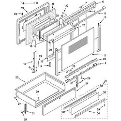 YKERC507HW0 Free Standing Electric Range Door and drawer Parts diagram