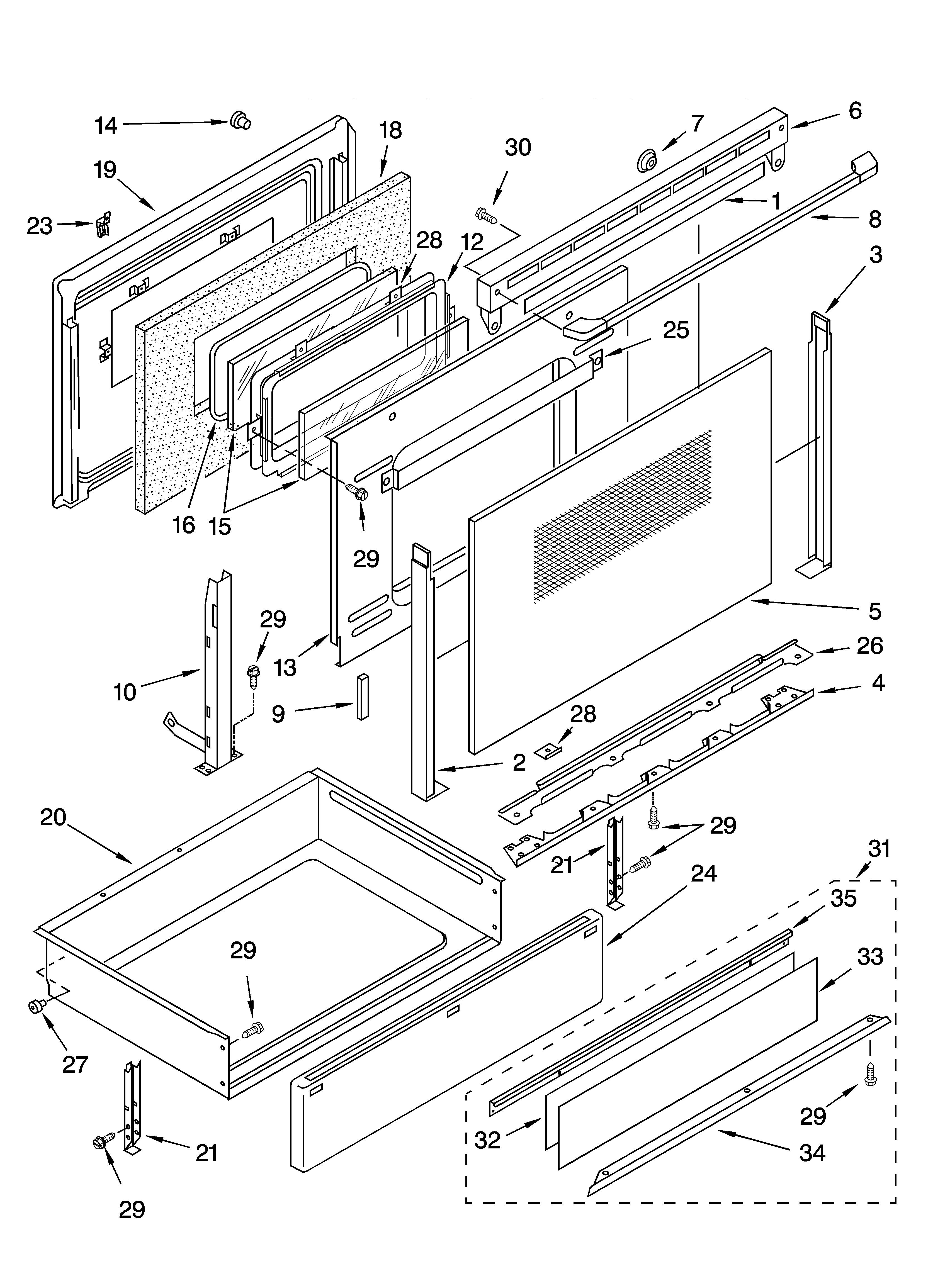 Ykerc507hw4 Free Standing Electric Range Door And Drawer Parts Diagram