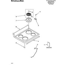 YKERS507HWO Free Standing Electric Range Cooktop Parts diagram