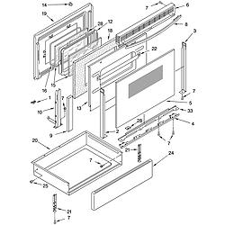 YKERS507HWO Free Standing Electric Range Door and drawer Parts diagram