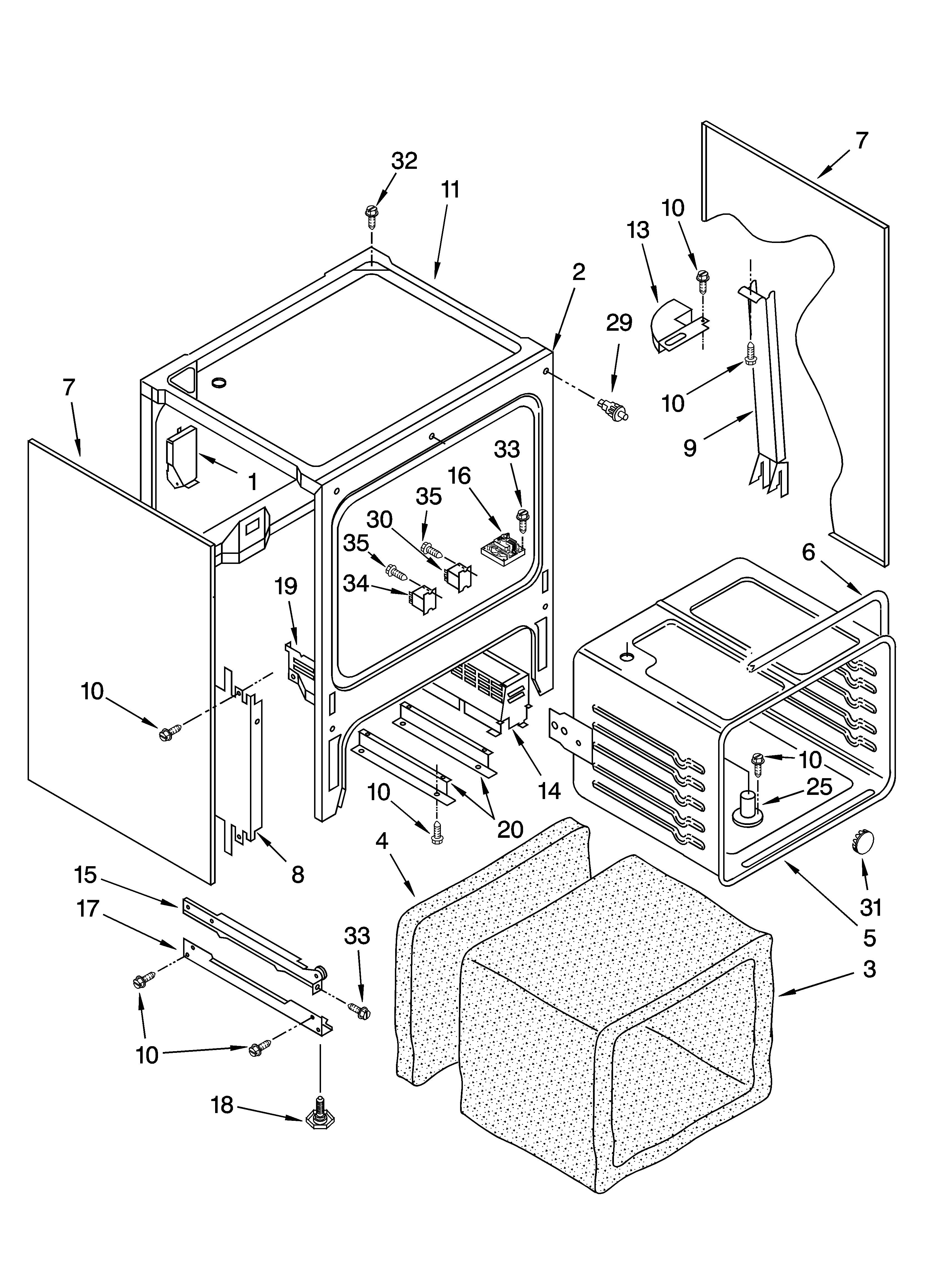 YKESC307HS6 Slide In Range Electric Oven chassis Parts diagram